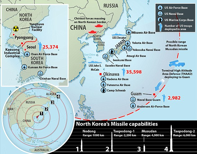 A map showing North Korea missile ranges. The Pentagon has announced it is deploying missile defense systems to the U.S. base in Guam and missile defense ships to sea between Japan and the rogue nation