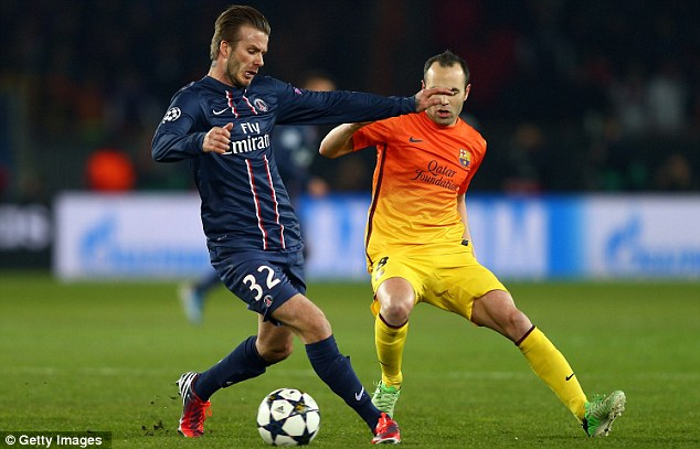 Not up to the challenge: Beckham struggled against Andres Iniesta and Barca, despite what his cheerleaders may have said
