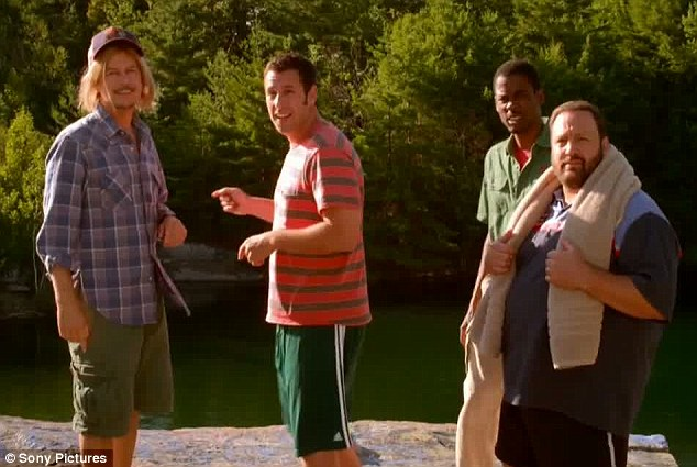 Back together again: Adam Sandler, David Spade, Kevin James, and Chris Rock are reunited in the new Grown Ups 2 trailer released Thursday