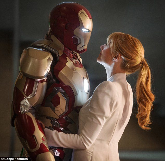 Back together: Robert once again stars alongside Gwyneth Paltrow in Iron Man 3