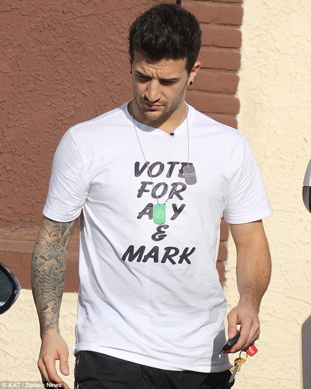 Fashionable plea: Mark Ballas wore a T-shirt reading Vote For Aly and Mark