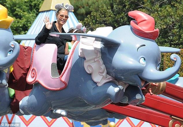 Theme park fun: Heidi Klum took her children to Disneyland on Thursday