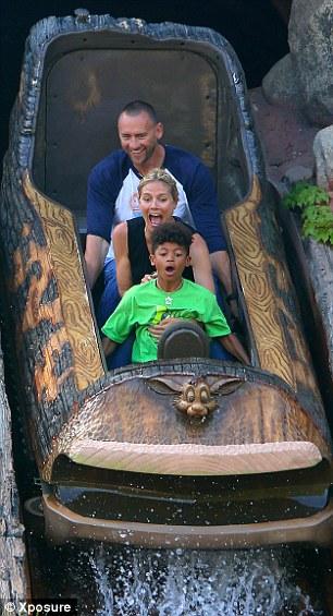 Making a splash: The group had fun on a log ride