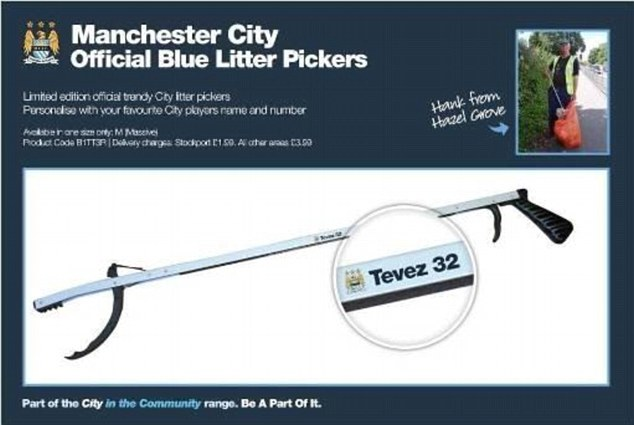 Argy-cleaner: Carlos Tevez must put back 250 hours into his community, and fans have been quick to poke fun at the Manchester City striker who likely spend lots of time picking up litter