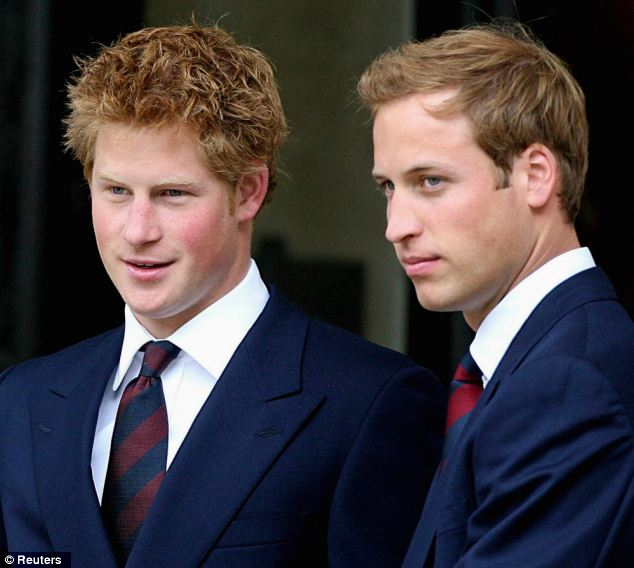 Close: Prince Harry pictured with his brother William