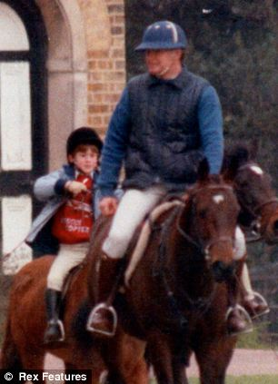 Horse sense: A young Prince Harry and Major James Hewitt out riding