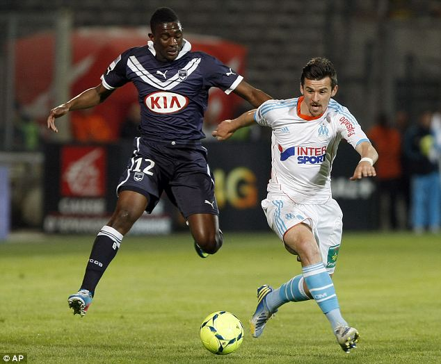 Bit part: Joey Barton was dropped to the bench but came on as a late substitute for Marseille