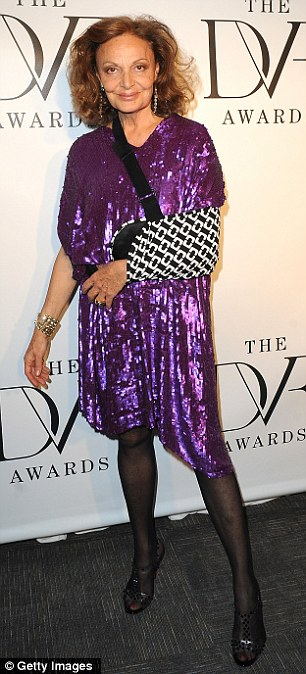 Fashionistas: The 17-year-old gymnast displayed her athletic figure in a DVF Sahara tube-dress while Diane rocked a purple sequin frock and a snazzy sling on her left arm