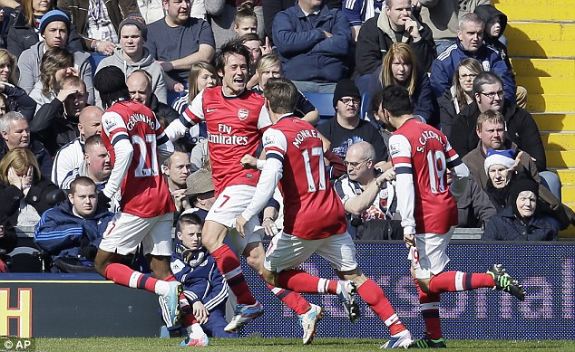 Joy: Rosicky celebrates the opening goal with his team-mates