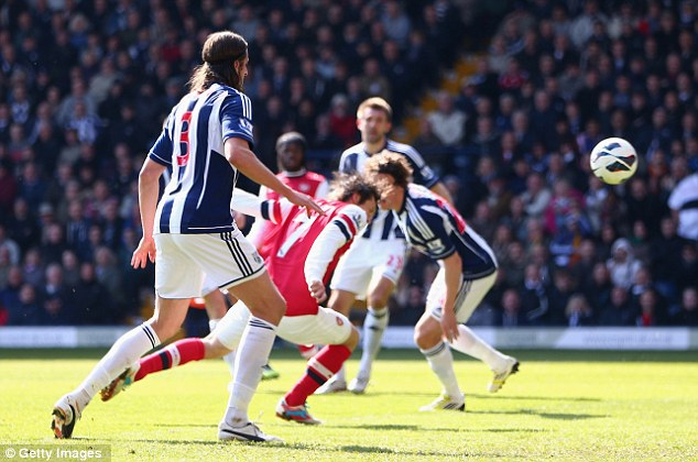 Opener: Tomas Rosicky headed Arsenal into the lead after 20 minutes at The Hawthorns