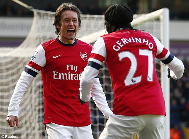 No 2: Rosicky fired past Ben Foster to double Arsenal's lead early in the second half
