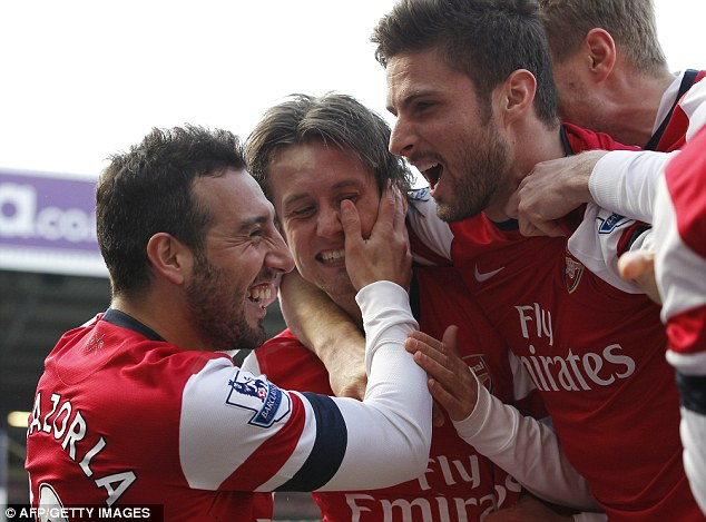 Star: Tomas Rosicky's double moved Arsenal above Chelsea into the top four