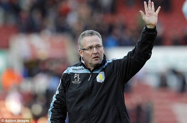 Relief: Aston Villa manager Paul Lambert has set Villa a target of 40 points