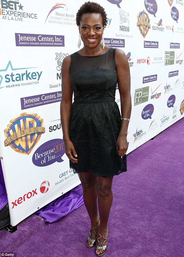 Tastefully chic: The Help favourite Viola looked in great shape in her tasteful chiffon and lace dress