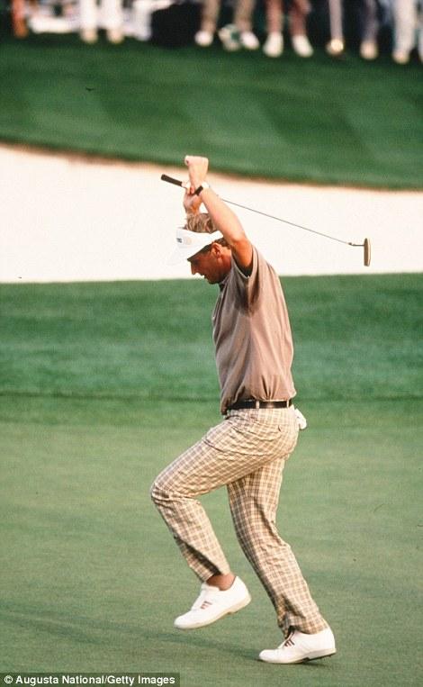 Sandy Lyle celebrates his winning putt in 1988