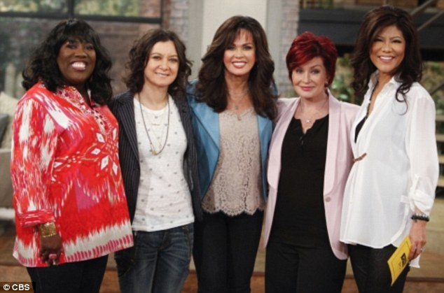 Revelation: Gilbert revealed the news during Monday's episode of The Talk alongside her fellow co-stars. From left Sheryl Underwood, Gilbert, guest Marie Osmond, Sharon Osbourne and Julie Chen from a March episode