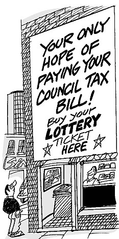 Tough times: Council tax is a big part of many people's monthly essential bills (Mahood cartoon for the Daily Mail)