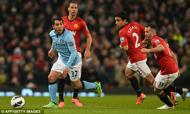 Outnumbered: Tevez finds himself surrounded by United players