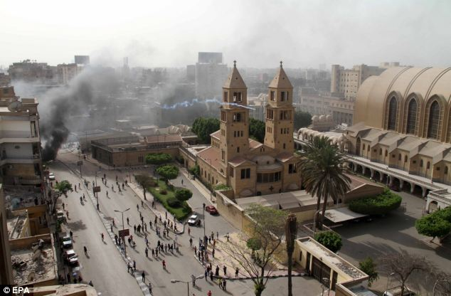 Police fired teargas into the grounds of St Mark's Cathedral
