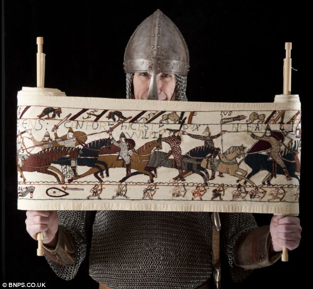 A member of a historical re-enactment group, Mr Wilkinson originally intended the scroll to decorate the inside of a tent until it got too big when he kept sewing his version of the 1066 battle