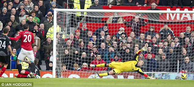 Main man: Robin Van Persie's goals have propelled Manchester United towards the Premier League title