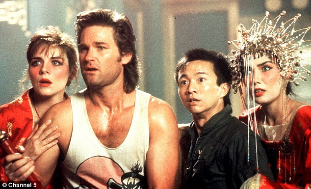 Cattrall, left, in Big Trouble In Little China in 1986 with Kurt Russell, Dennis Dun and Suzee Pai