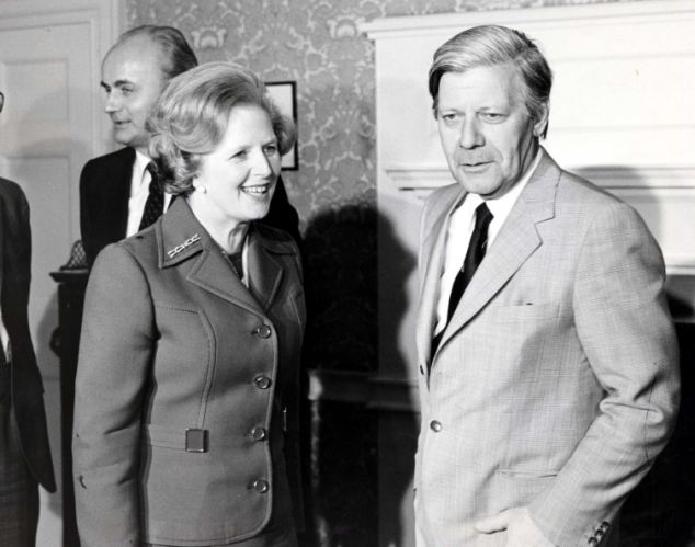Baroness Margaret Thatcher with former West German Chancellor Helmut Schmidt at Downing Street