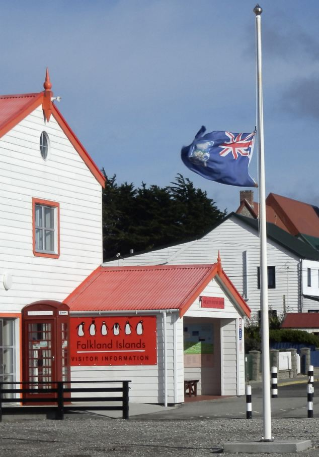 In memory: The Falkland Islands flag flies at half mast in front of the Visitor Centre in Port Stanley after the death of Mrs Thatcher