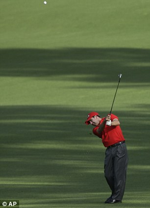 Straight down the middle: Olazabal earlier in his round