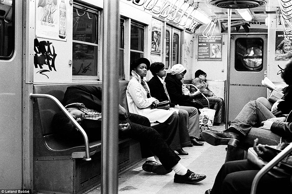 Nap time: A man sleeps on the subway. The subway system became rife with crime as riders became the victims of rapes and robberies