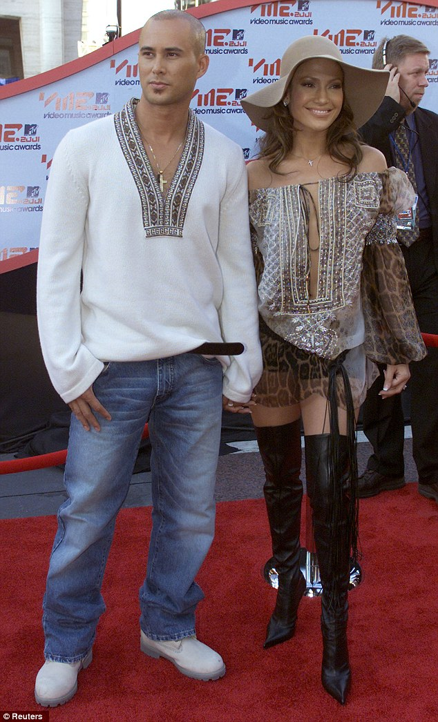 Past love: Jennifer Lopez and her second husband Chris Judd arrive at the MTV Music Video Awards in 2001