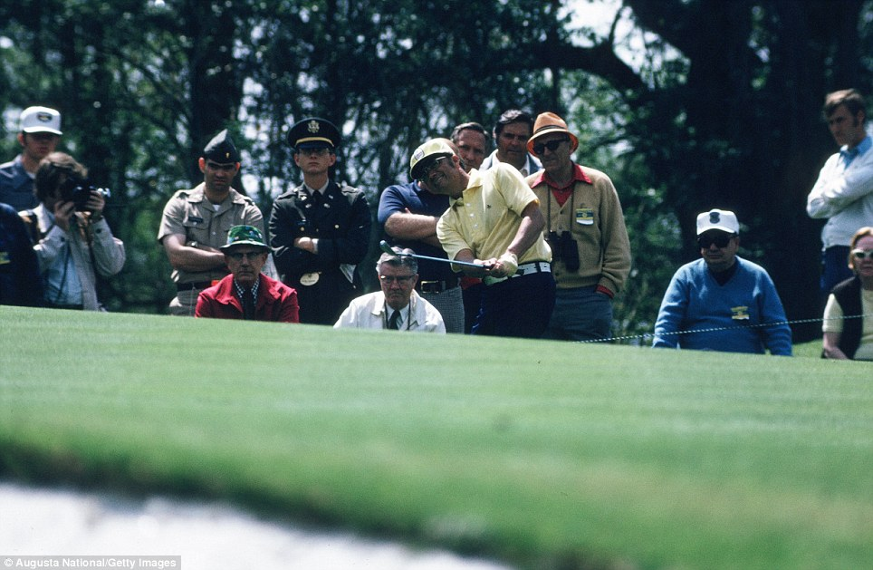 Tommy Aaron watches his shot during the 1973 Masters