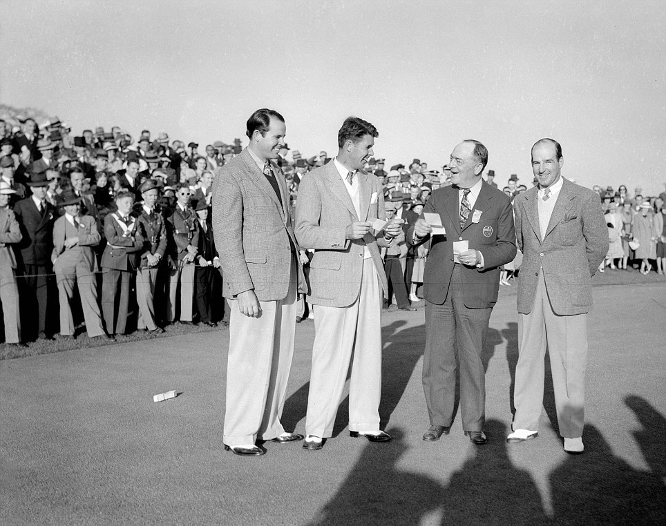 75 YEARS AGO: Champion Henry Picard (second left), Ralph Guldahl, Bobby Jones and Harry Cooper at the 1938 presentation ceremonyPicard (second