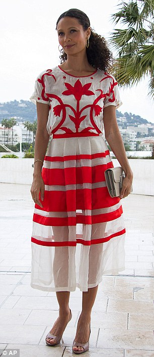 Earlier in the day Thandie attended a photocall for 'Rogue dressed in a white and red organza dress