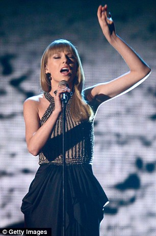 Late night: Taylor pictured at Sunday's ACMs but she left empty handed