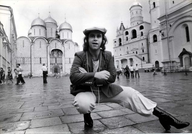 Singer Elton John pictured in Moscow in 1979. He was the first major western artist to play concerts in the Soviet Union