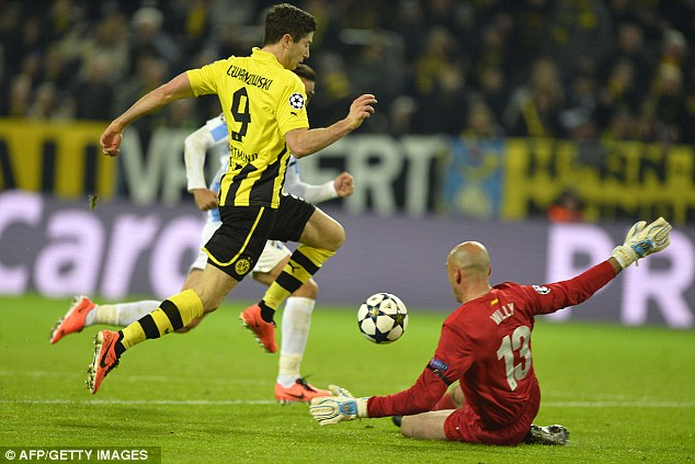 Reliable: Robert Lewandowski brought Dortmund level in the 40th minute