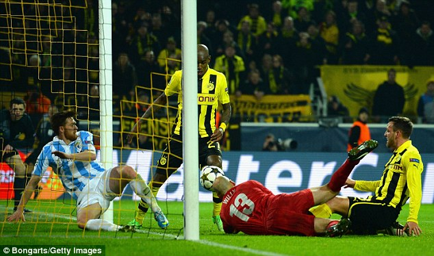 Turnaround: Santana bundled home a winner from close range in injury time for Dortmund
