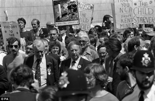 One of Thatcher's arch critics ¿ former Labour MP Tony Benn ¿ was one of the first invited to speak on BBC 5 Live and BBC World Service. Mr Benn is pictured here with miners' leader Arthur Scargill (centre) in 1984