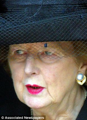 Mrs Thatcher on the day that she attended her husband's funeral
