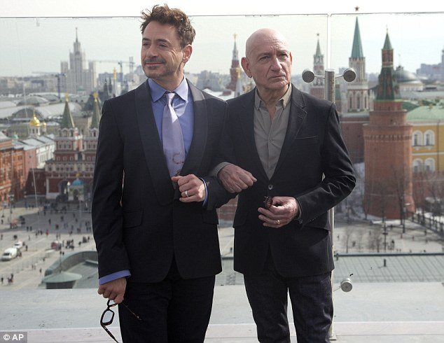 Best of friends: Robert Downey and Sir Ben posed up a photocall promoting Iron Man 3 in Moscow on Wednesday
