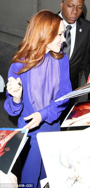 Purple patch: Rachel arrives backstage at Jimmy Kimmel Live in Hollywood on Wednesday where she signed autographs