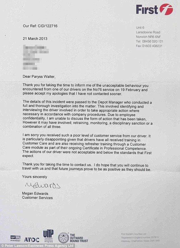 Letter: First Buses apologise to the mother after she was ordered off the bus with her two-year-old daughter