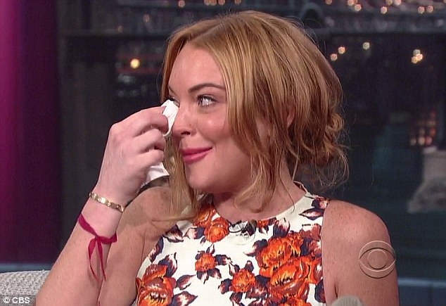 Tearful: Lindsay became tearful when she discussed her troubles on the Letterman show on Tuesday night
