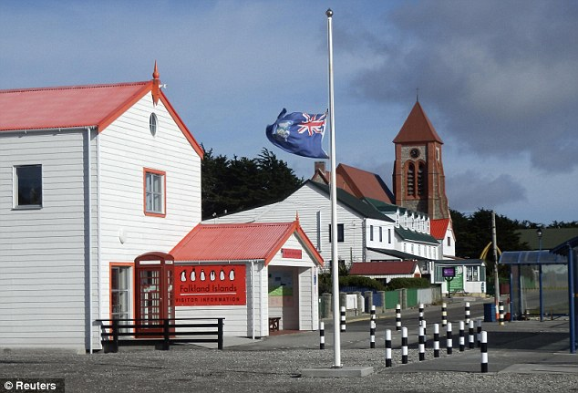 Respect: The Falkland Islands flag flies at half mast in front of the Visitor Centre after Baroness Thatcher died