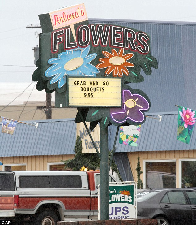 Row: A legal fight has broken out over Arlene's Flowers in Richland, Washington, after the owner refused to provide flowers for a gay couple's wedding