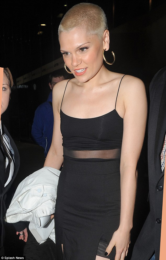 New look: Jessie J attended HUNGER magazine's party at London's Apartment 58 on Wednesday night after having her blonde buzz cut shorn even shorter