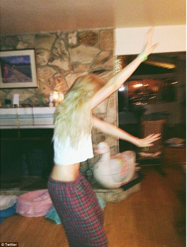 Having fun: The budding model also posted a picture of herself dancing in her pajamas
