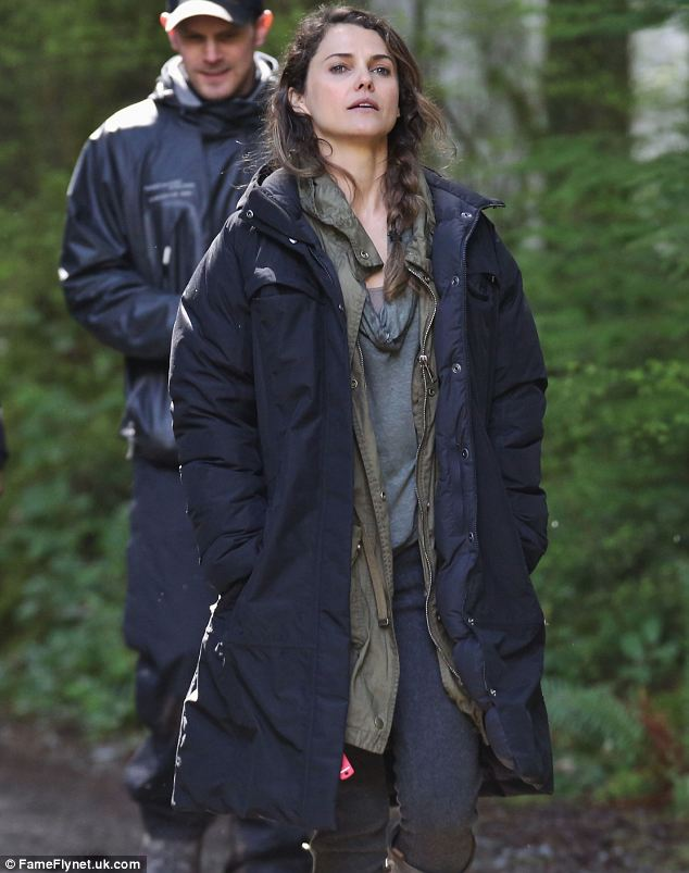 Human star: Keri Russell has joined the cast and appears to be playing a human while on set in Vancouver
