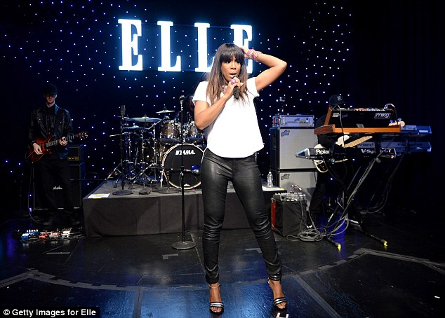 Songstress: Kelly took to the stage to perform at the event